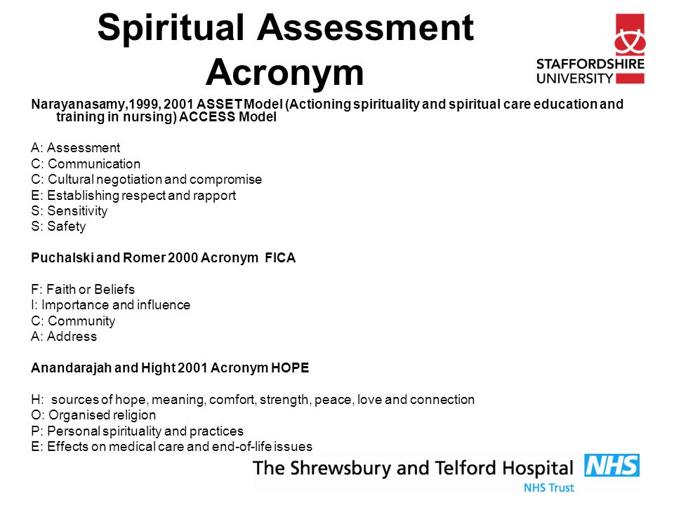 spirituality assessment Physicians address spiritual issues pa- nician then asks if spiritual beliefs and tion with thc patients' clcrgy if needed, tients may need an invitation to share in practiccs are important to the patient.