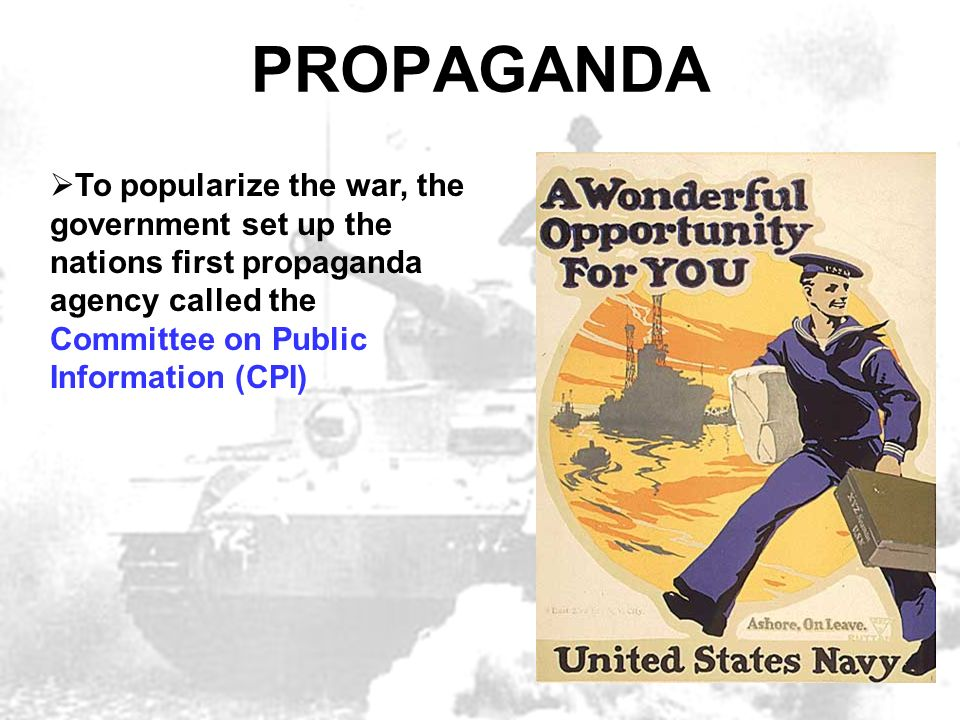 the propaganda of the first world war American propaganda in world war ii instant articles world war ii aug 6 the united states government was not into the idea of propaganda at first.