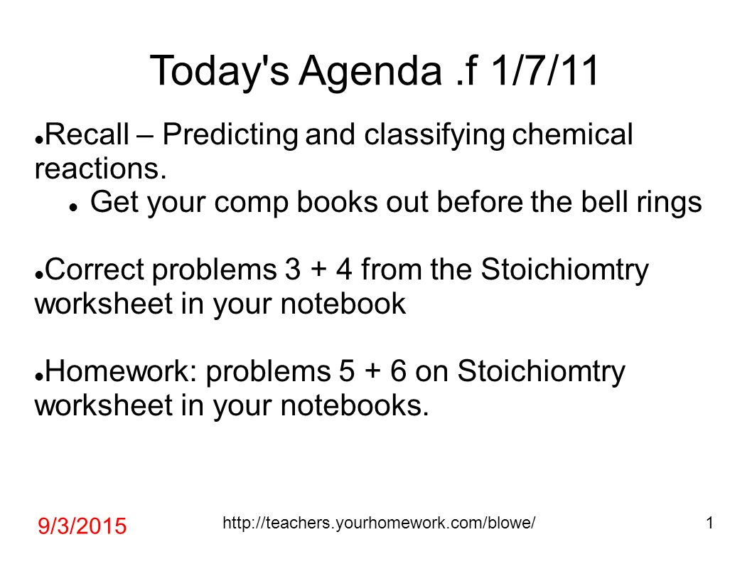 Todays Agenda f 1711 Recall Predicting and classifying – Identifying Chemical Reactions Worksheet