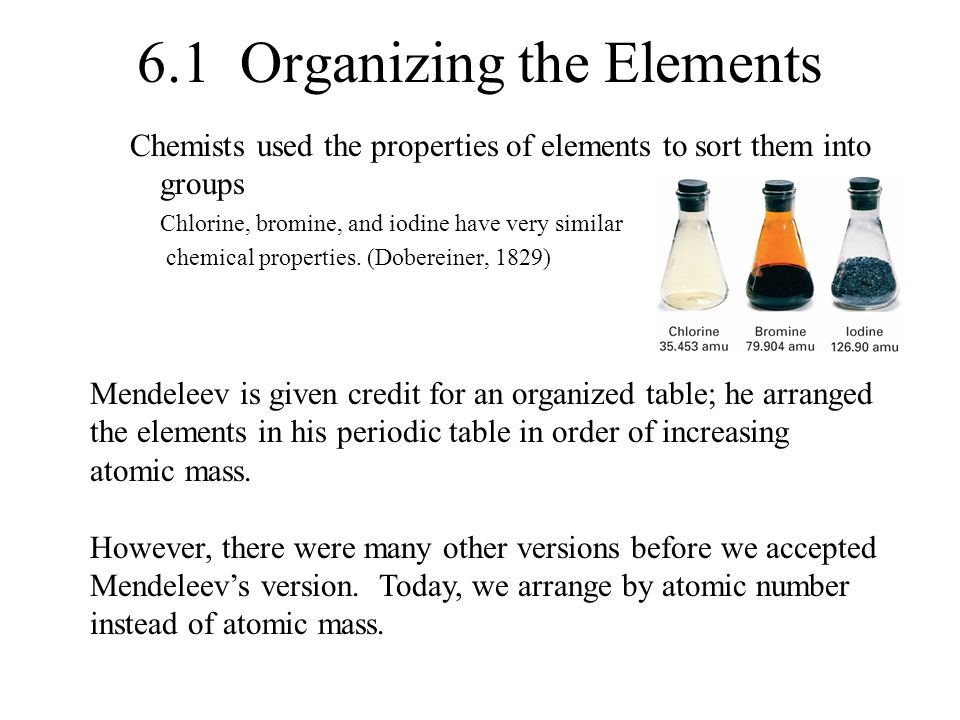 2 61 organizing the elements - Mendeleev Periodic Table Atomic Number