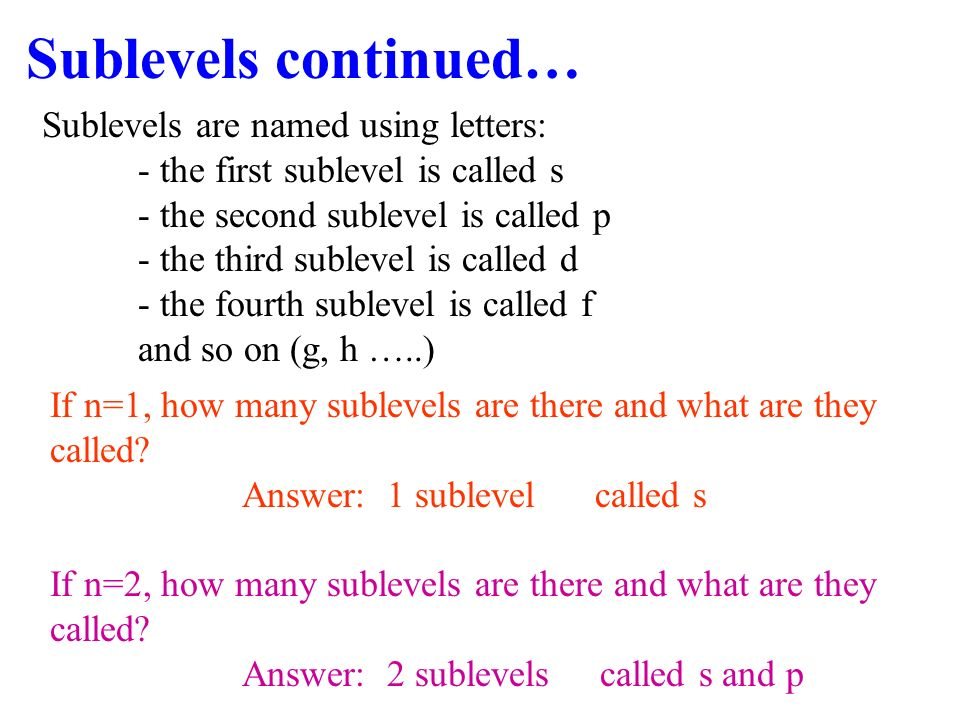 Sublevels continued… Sublevels are named using letters:
