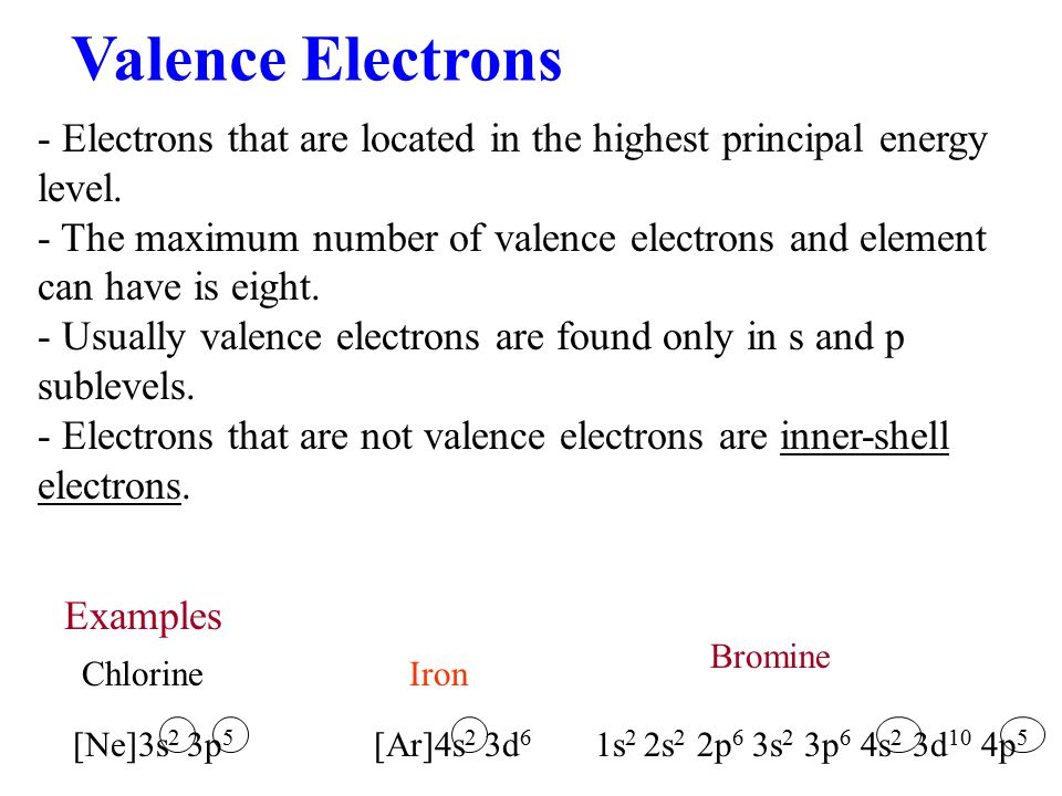 Valence Electrons - Electrons that are located in the highest principal energy level.