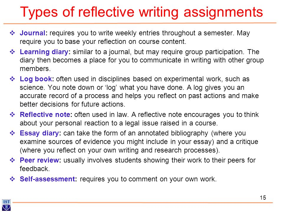 Types of reflective writing assignments