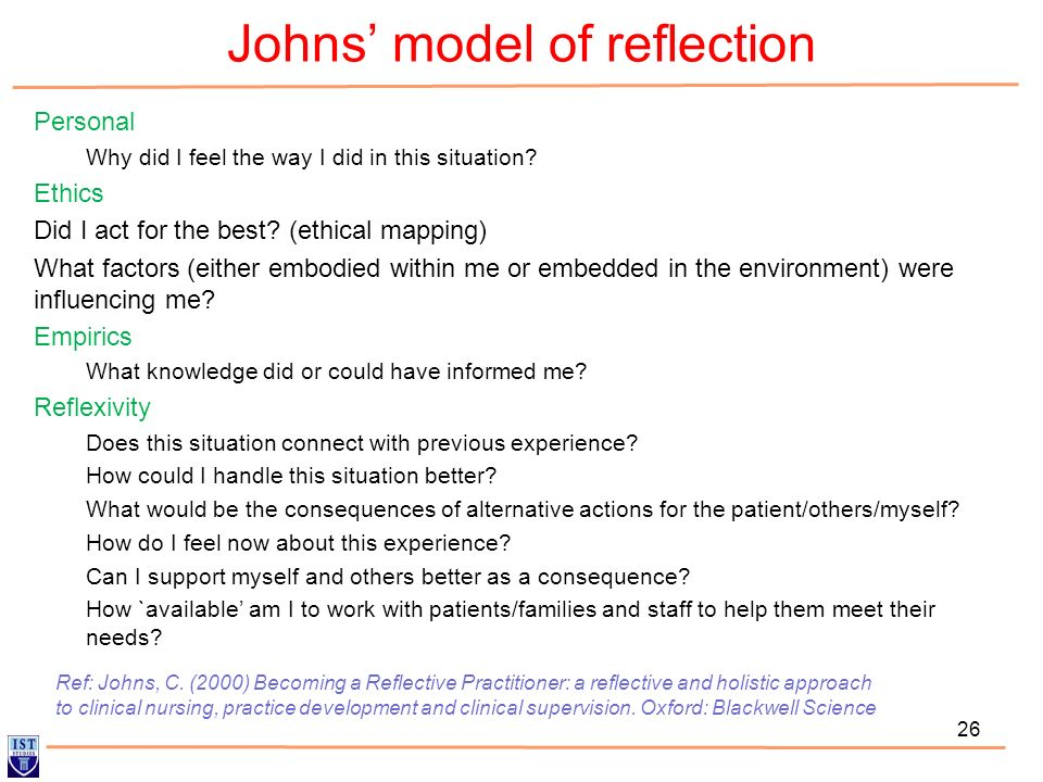johns reflective model essay A reflective essay this is a reflective essay based on a event which took place in a hospital setting the aim of this essay is to explore how members of the.