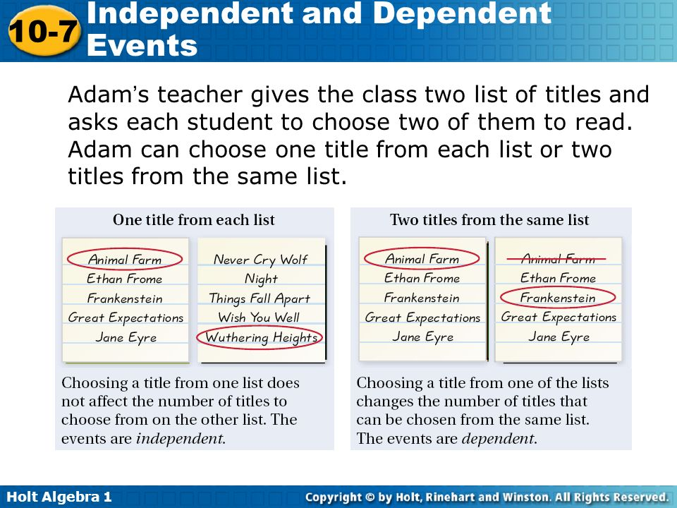 Adam's teacher gives the class two list of titles and asks each student to choose two of them to read.