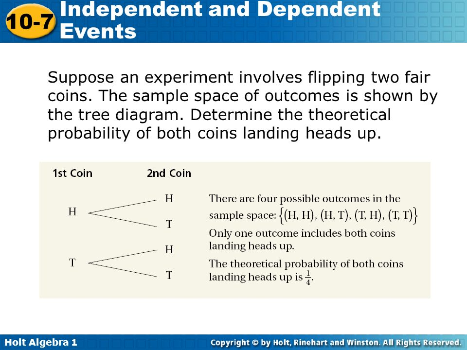 Suppose an experiment involves flipping two fair coins