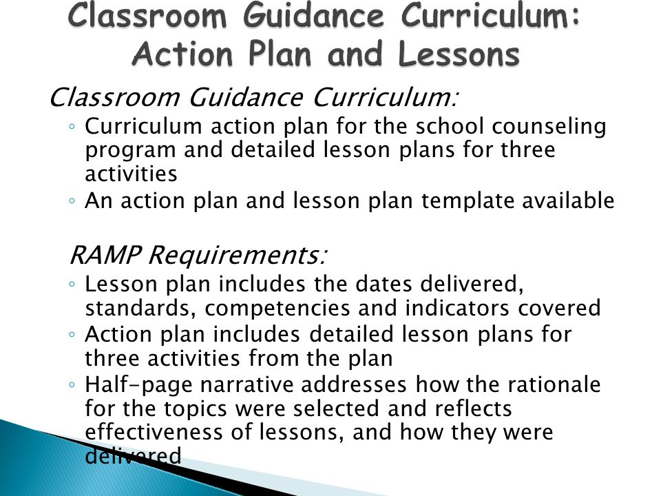 Modern Classroom Lesson Indicators ~ Recognized american school counselors association model
