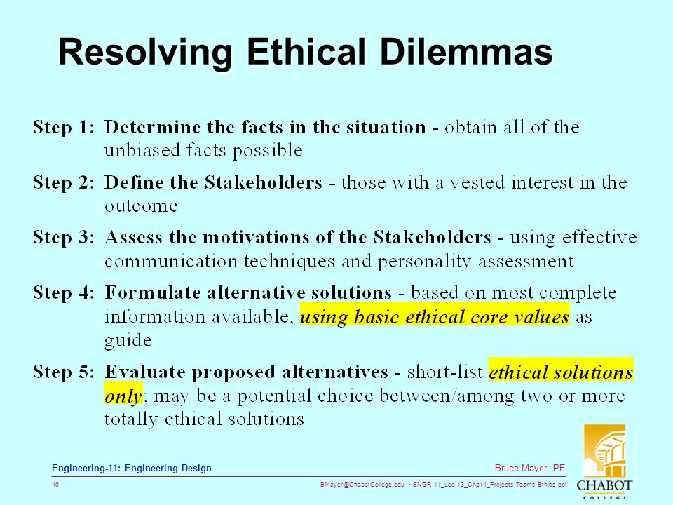resolving ethical dilemmas Resolving ethical dilemmas: a guide for clinicians, fifth edition now in its fifth edition, this respected reference helps readers tackle the common and often challenging ethical issues that affect patient care the book begins with a.