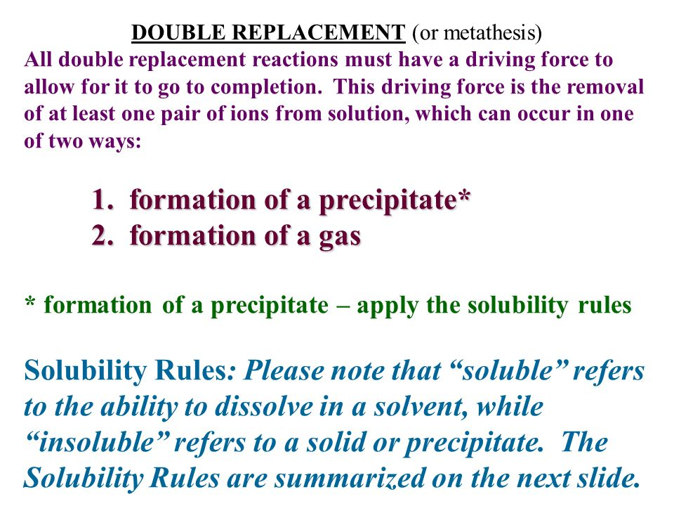 solubility rules formula writing and double replacement reactions