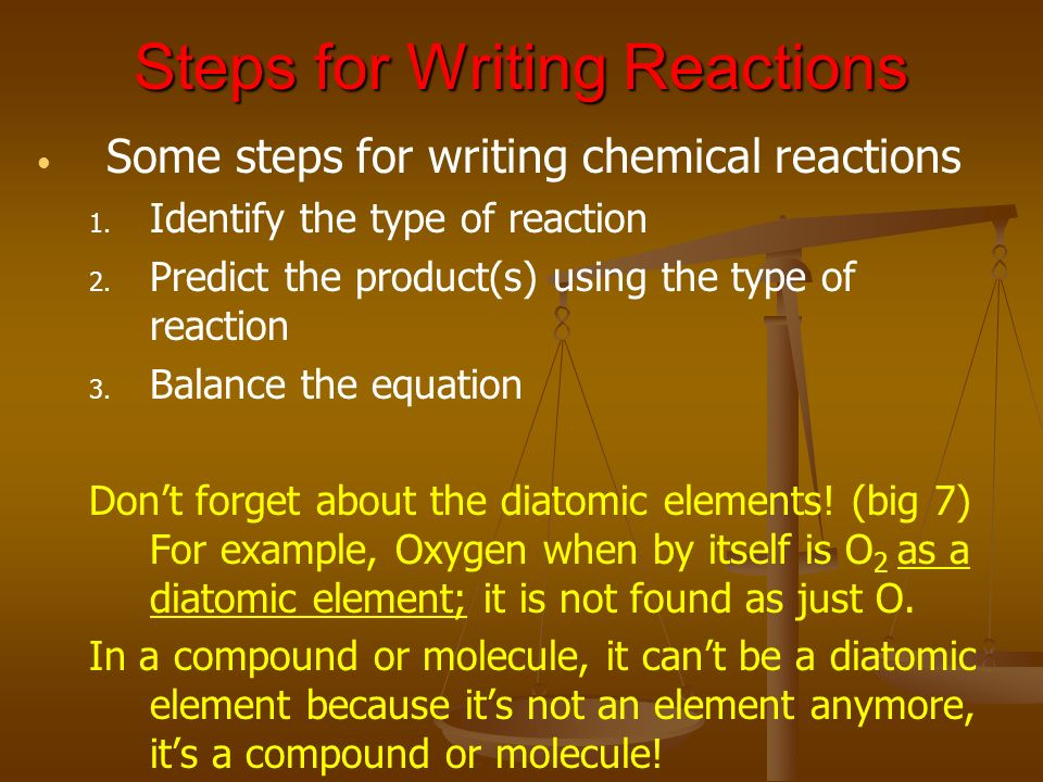 Steps for Writing Reactions