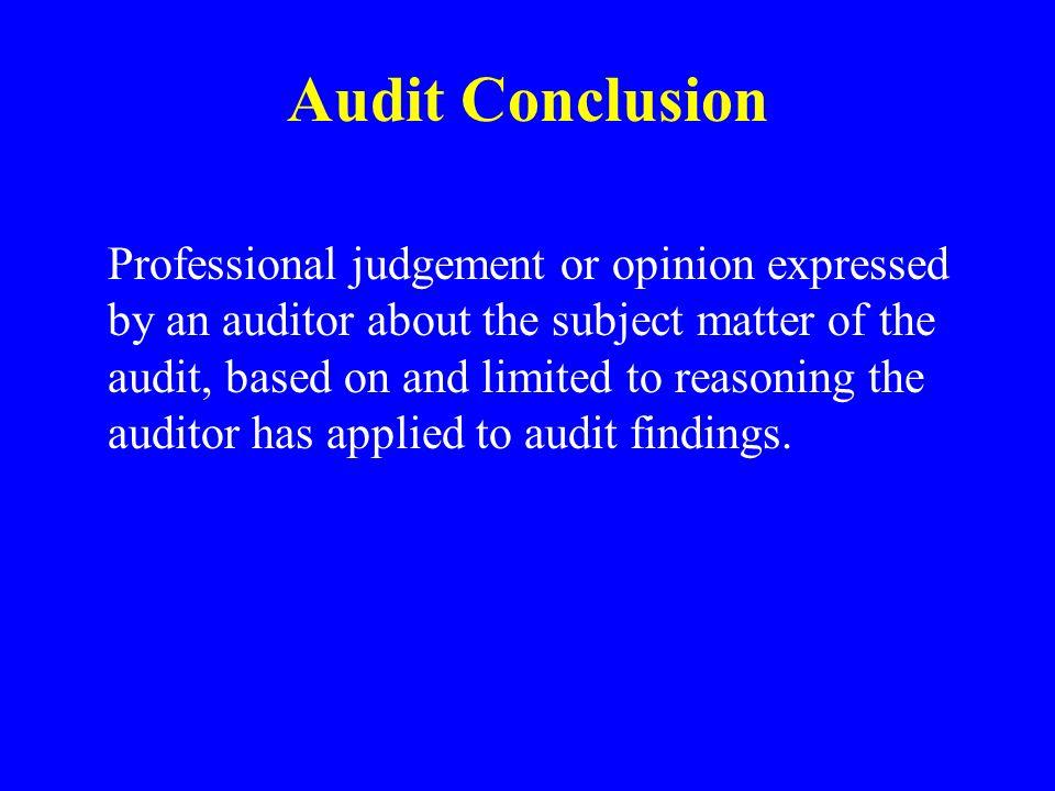 Audit Conclusion