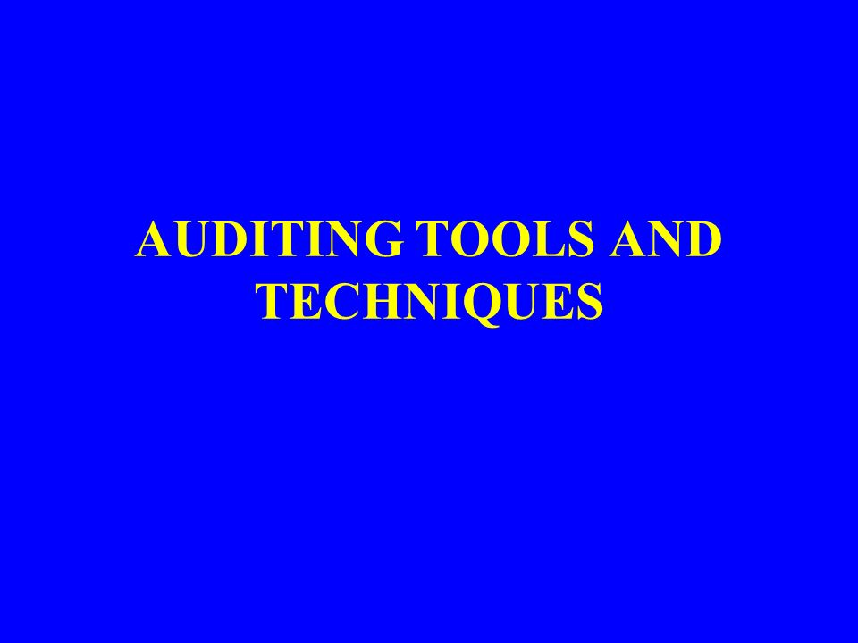 AUDITING TOOLS AND TECHNIQUES