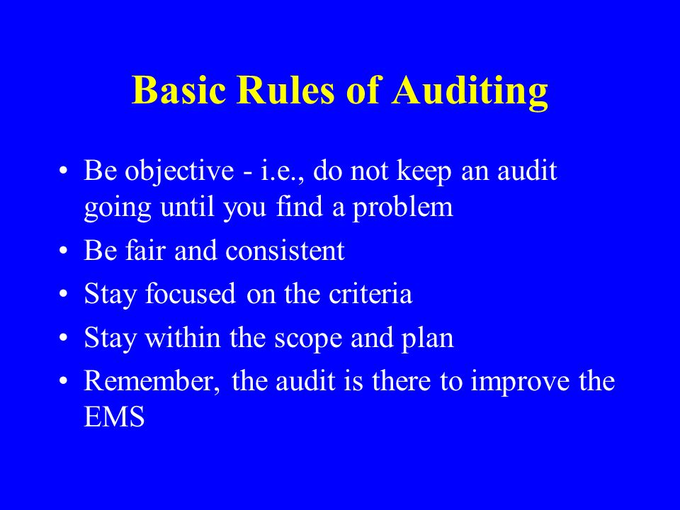 Basic Rules of Auditing