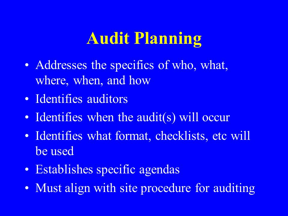 Audit Planning Addresses the specifics of who, what, where, when, and how. Identifies auditors. Identifies when the audit(s) will occur.