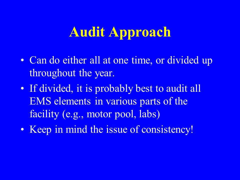 Audit Approach Can do either all at one time, or divided up throughout the year.