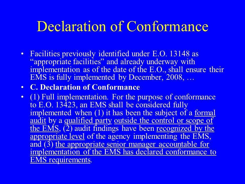 Declaration of Conformance