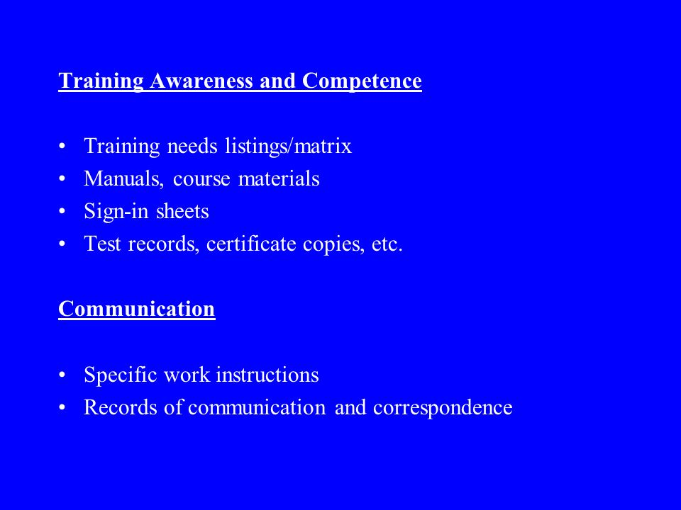 Training Awareness and Competence