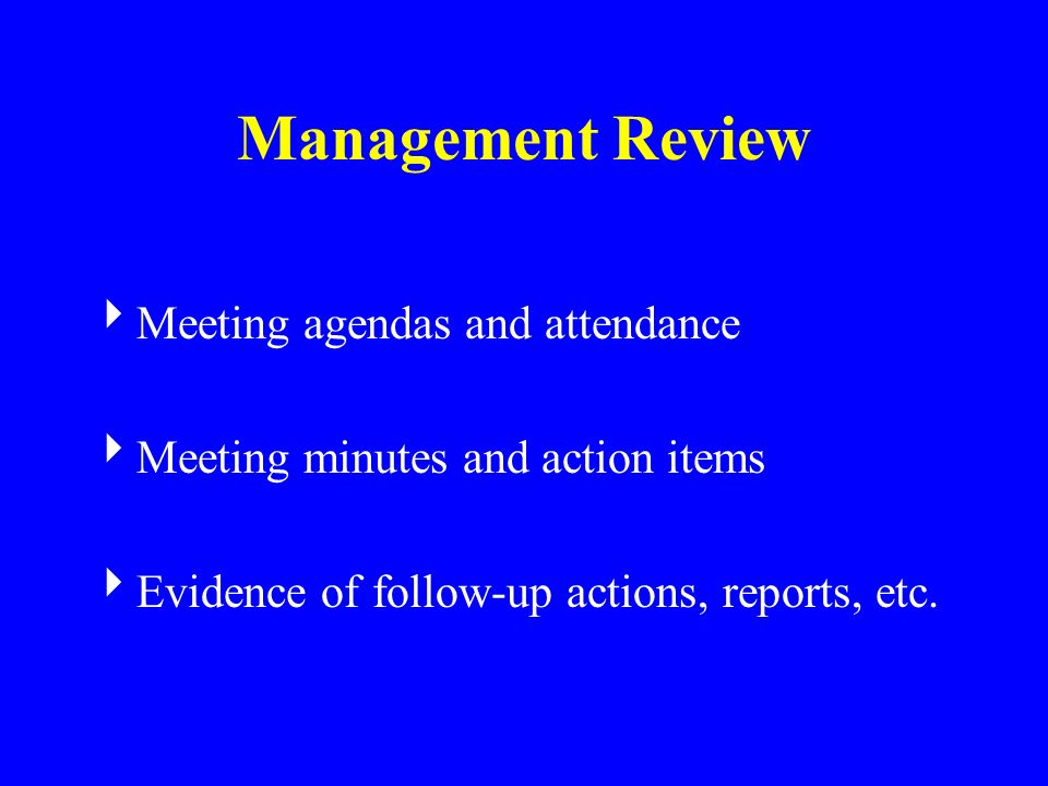 Management Review Meeting agendas and attendance