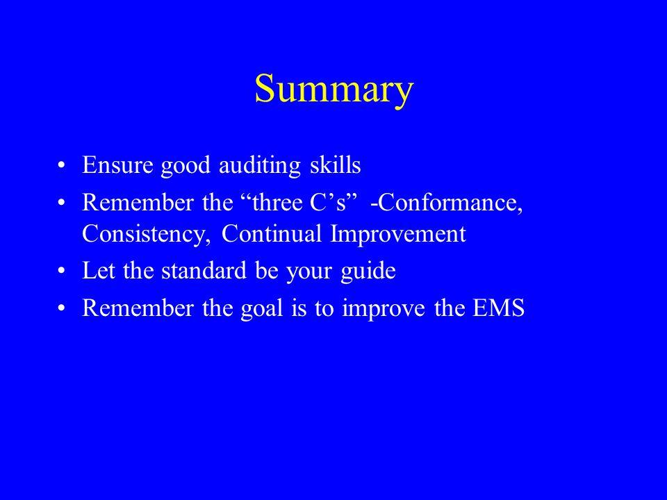 Summary Ensure good auditing skills