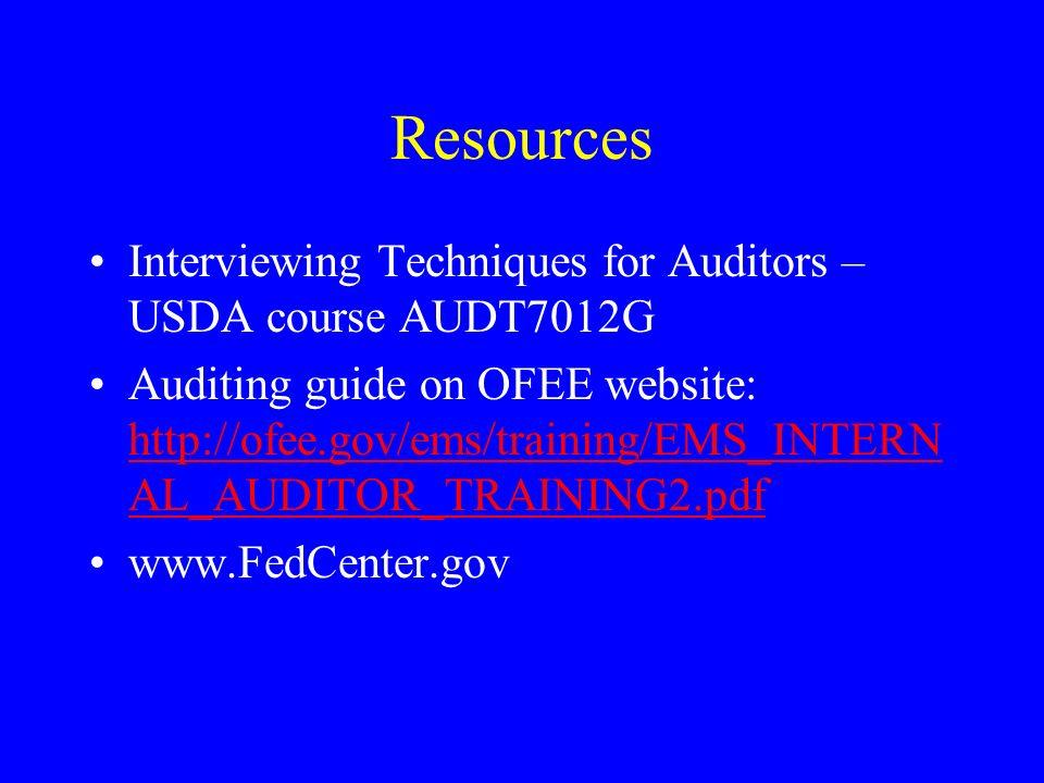 Resources Interviewing Techniques for Auditors – USDA course AUDT7012G