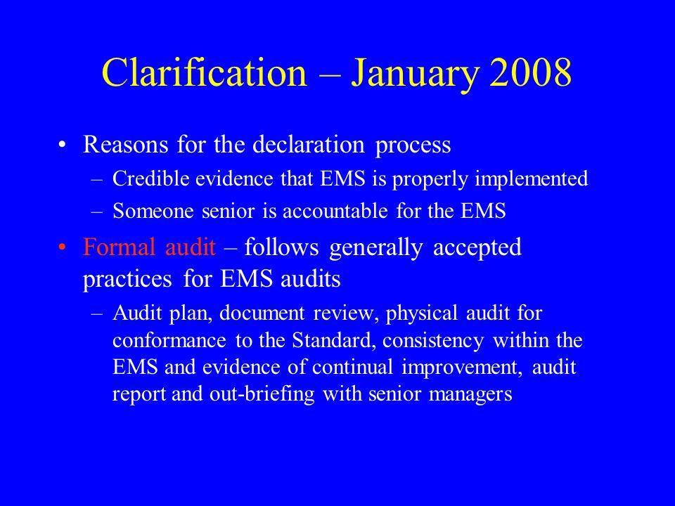 Clarification – January 2008