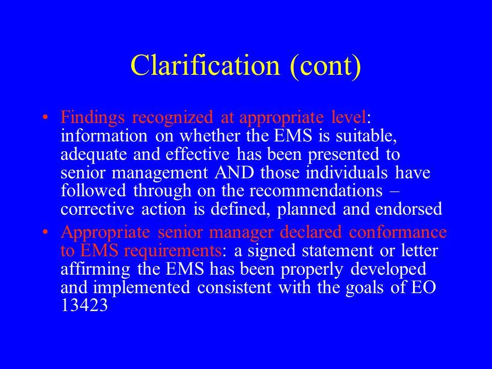 Clarification (cont)