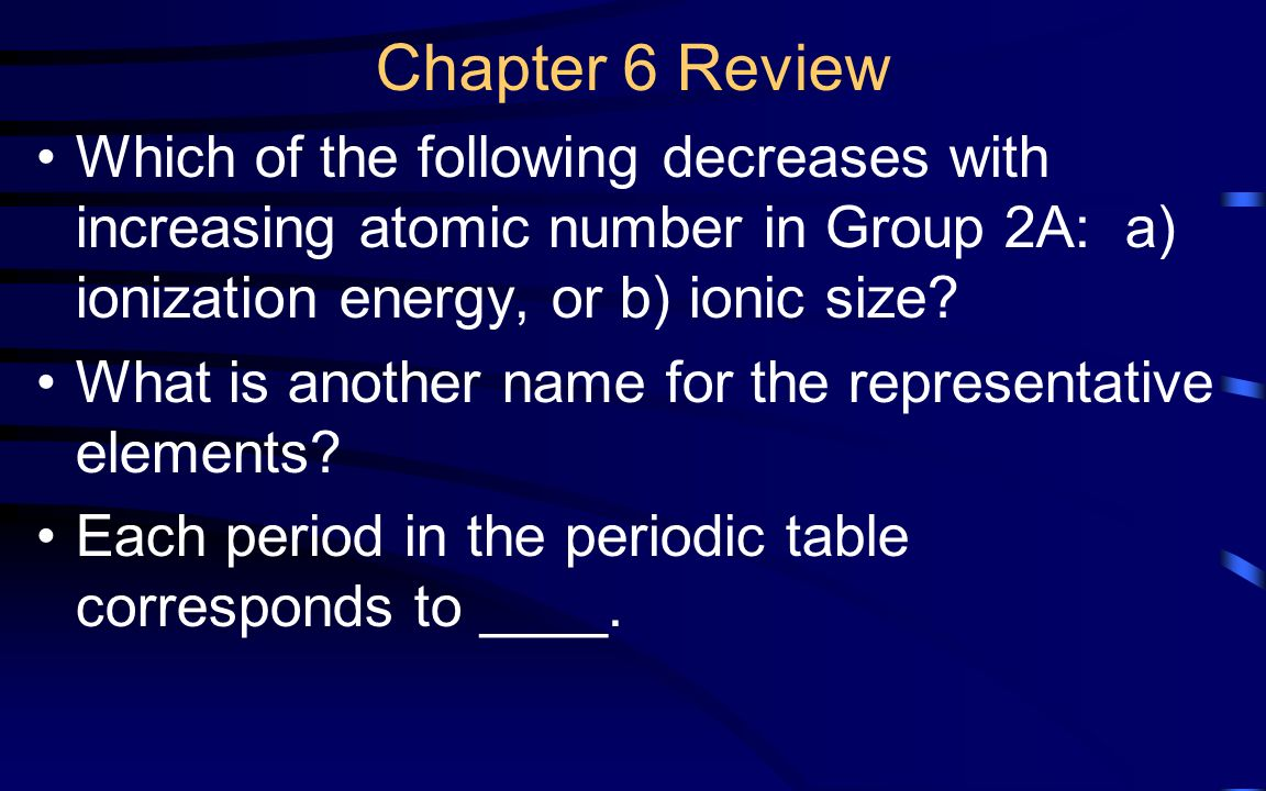 Chapter 9 review states of matter ppt video online download chapter 6 review which of the following decreases with increasing atomic number in group 2a gamestrikefo Gallery