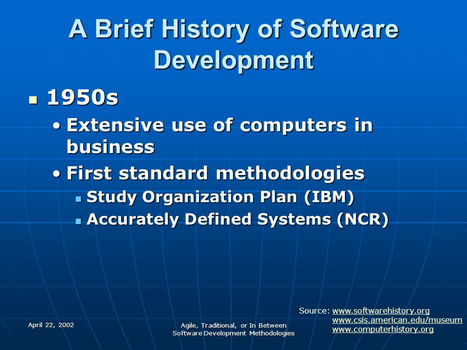 a history of development of the software c Associated with the development of the early internet would be a  internet, history 1 introduction  email message send and read software, motivated by the.