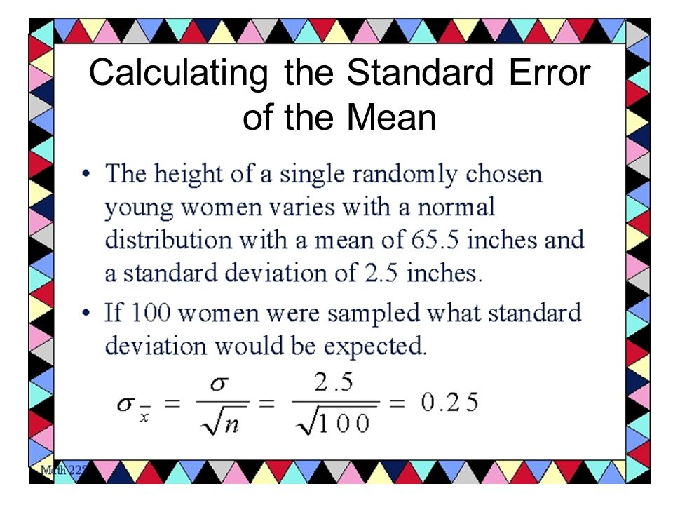 how to find standard error of mean
