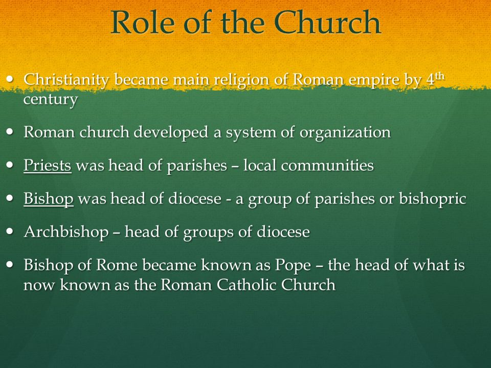 the role the christian church payed in the middle ages society Medieval education and the role of the church the rise of education during the twelfth and thirteenth centuries, the many social and economic changes which came about in european society helped create an increased interest in education.