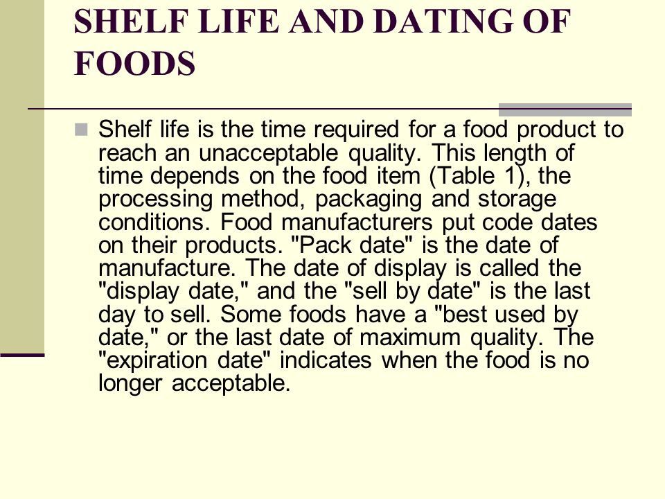 shelf life dating