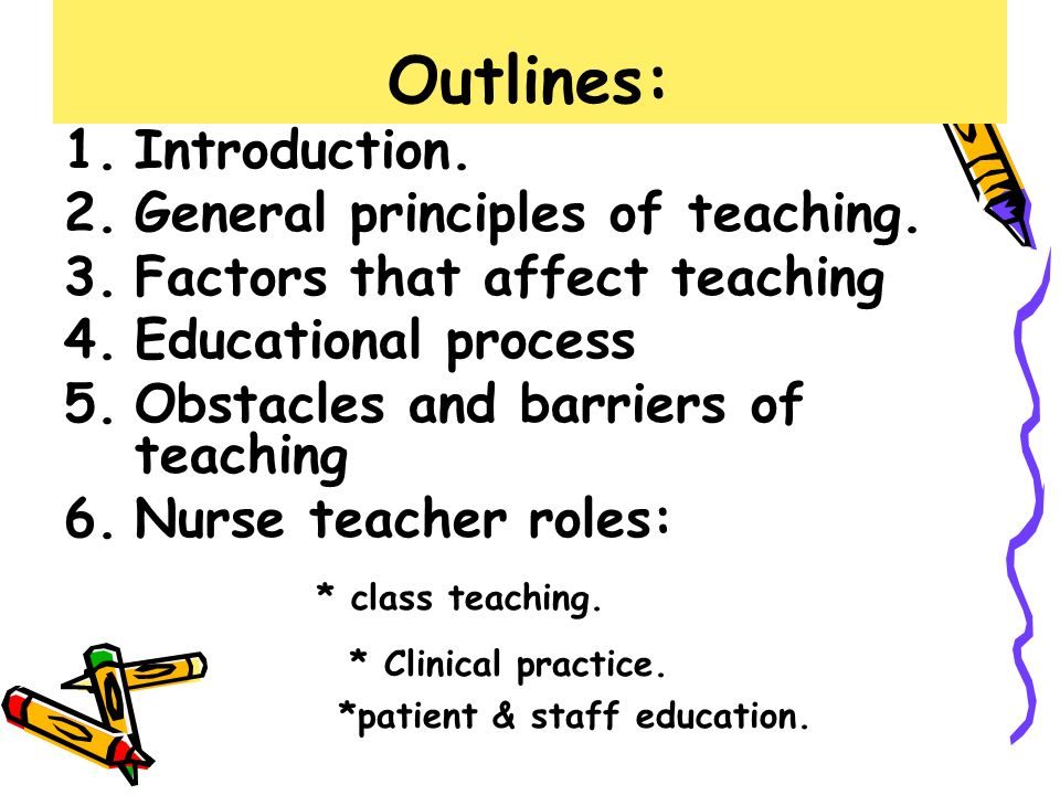 outline for nursing teaching plan Transcript of diabetes teaching plan content outline: 1 designing a regimen 2 methods of administering insulin 3 factors affecting blood glucose levels.