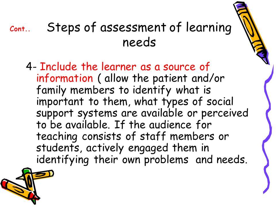 identifying learning needs important pdf