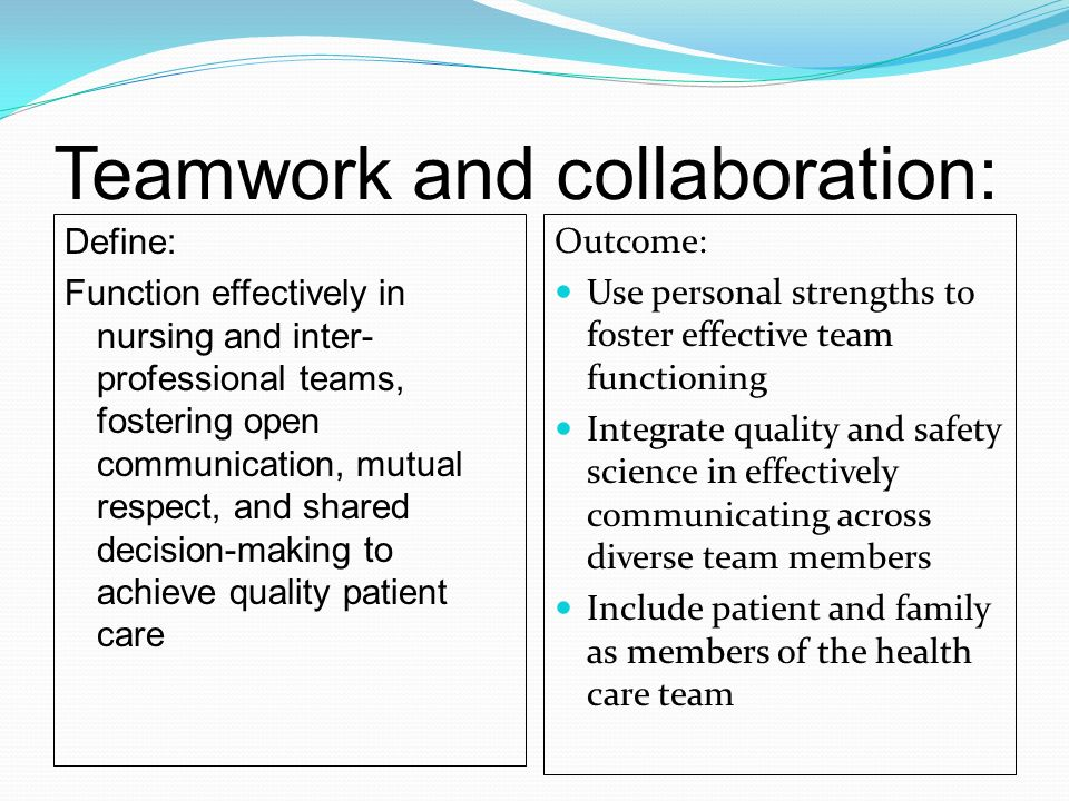 communication and collaboration in nursing The importance of professional communication, conflict resolution, and collaboration between nurses and physicians can readily be applied to the entire team caring for patients across the continuum of care.