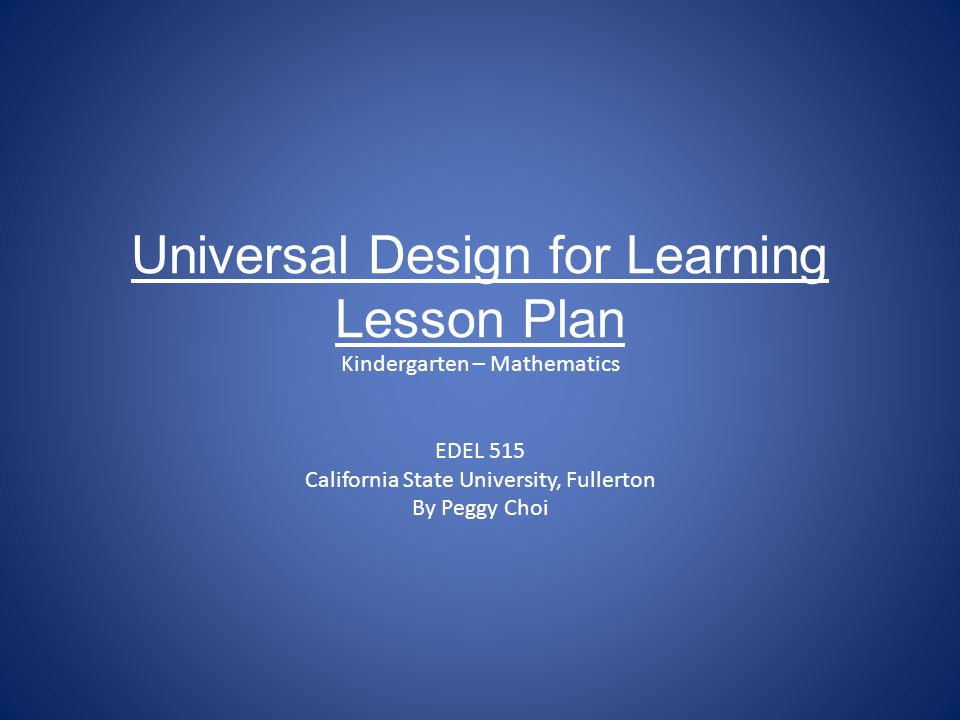 Universal design for learning lesson plan kindergarten - Universal design for learning lesson plans ...