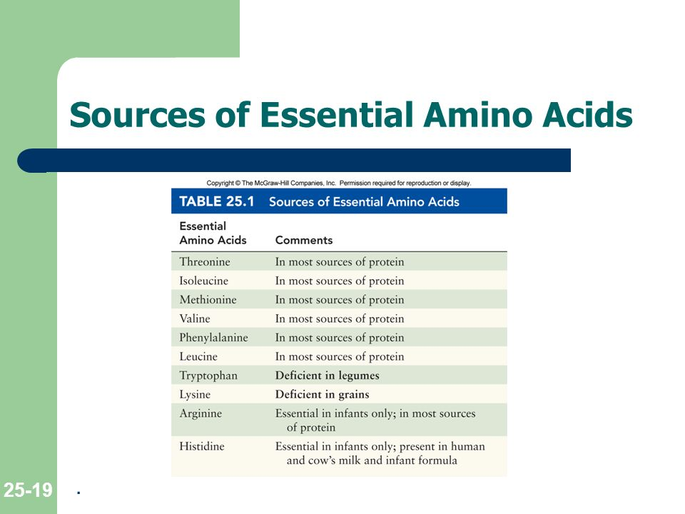 List And Food Sources Of The Essential Amino Acids