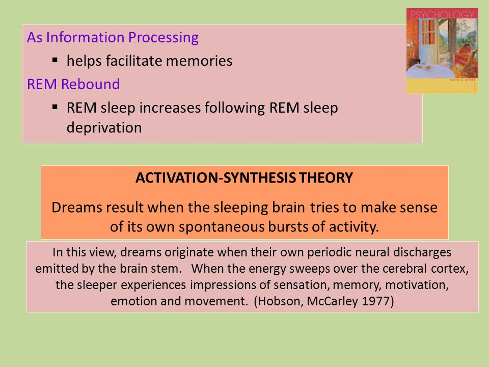 activation sythesis theory The activation-synthesis hypothesis, proposed by harvard university psychiatrists john allan hobson and robert mccarley, is a neurobiological theory of dreams first.