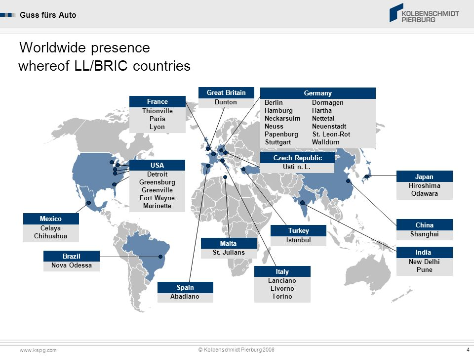whereof LL/BRIC countries Worldwide presence