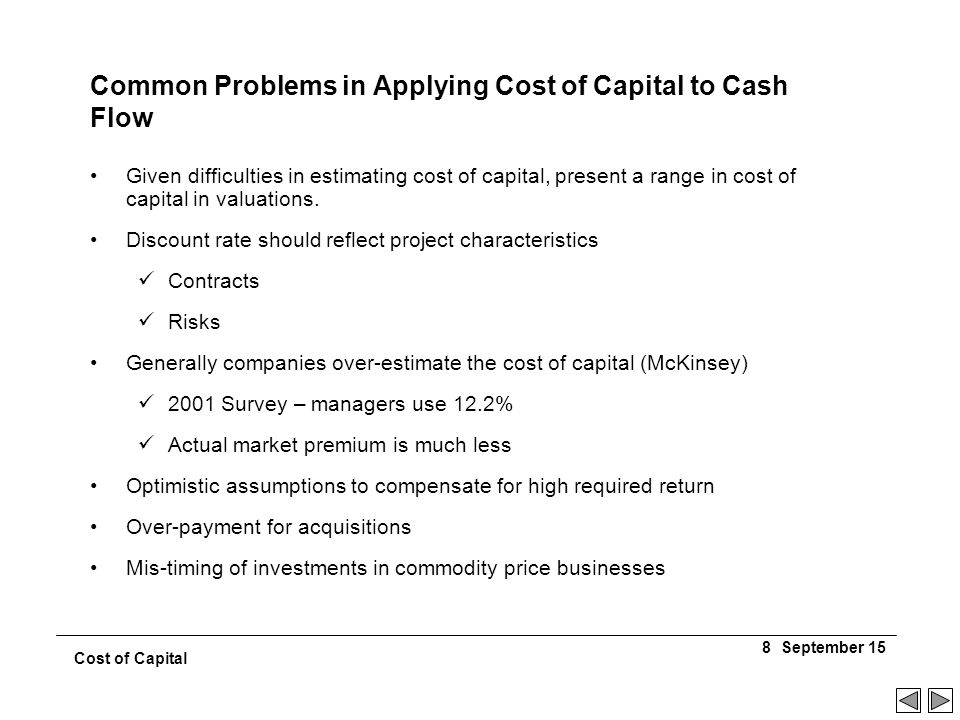 problems on cost of capital computation There is also the problem that changes in the floating rate in the future are  unknown, so how the wacc will actually change in the future can also only be.