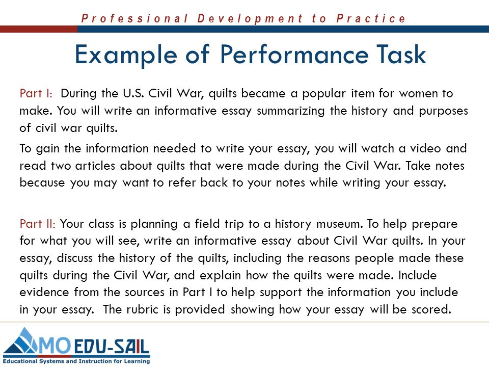 informative speech performance task Writing class 10/04/2013 informative essay performance task essential question: how do i make sure people understand what i say learning objective.