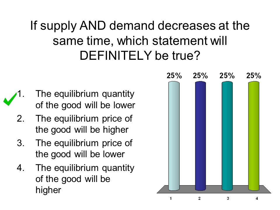 supply and demand and true question 5 if both the demand and supply curves shift equal distances rightward, the equilibrium price rises (true or false) 6 a rise in the price of popcorn.