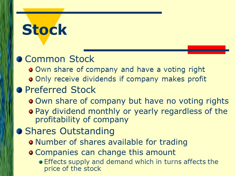 Stock options and outstanding shares