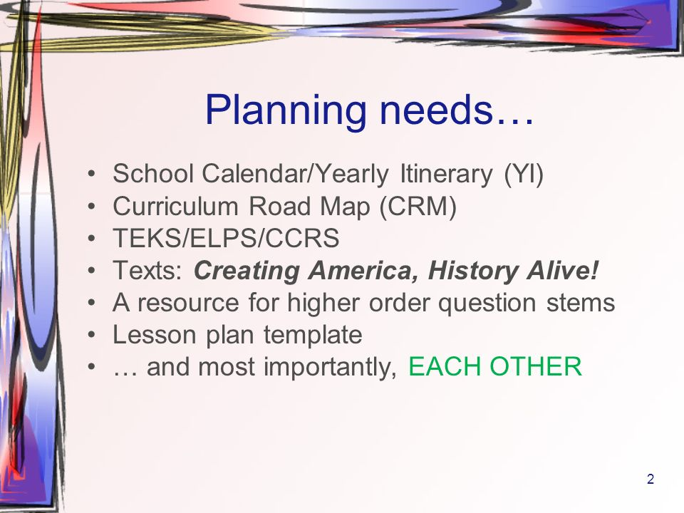 6th 6 weeks u s history 8th grade ppt download for Yearly lesson plan template