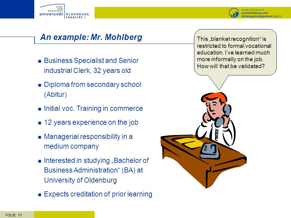 An example: Mr. Mohlberg