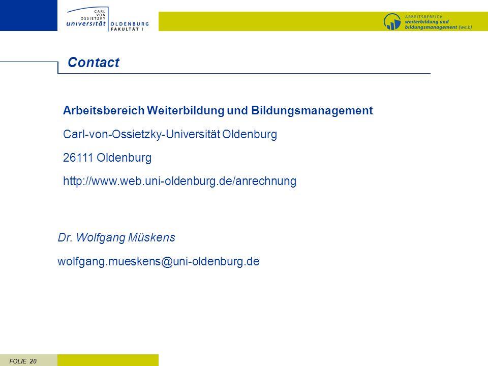 Contact Arbeitsbereich Weiterbildung und Bildungsmanagement