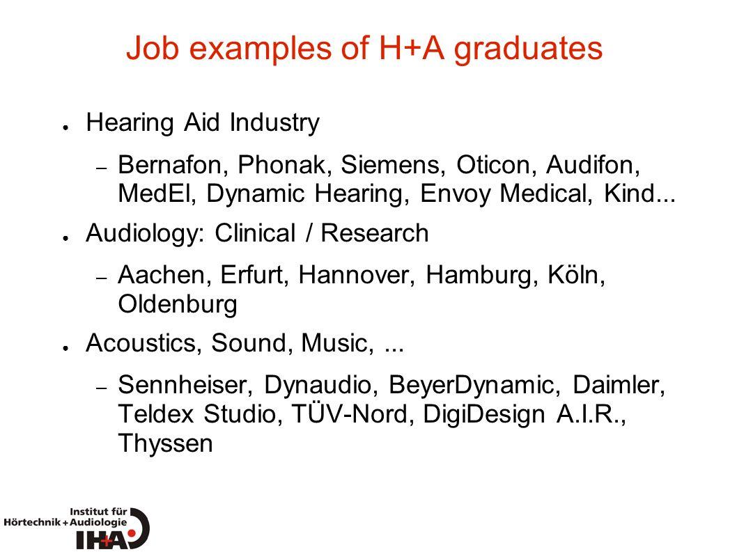 Job examples of H+A graduates
