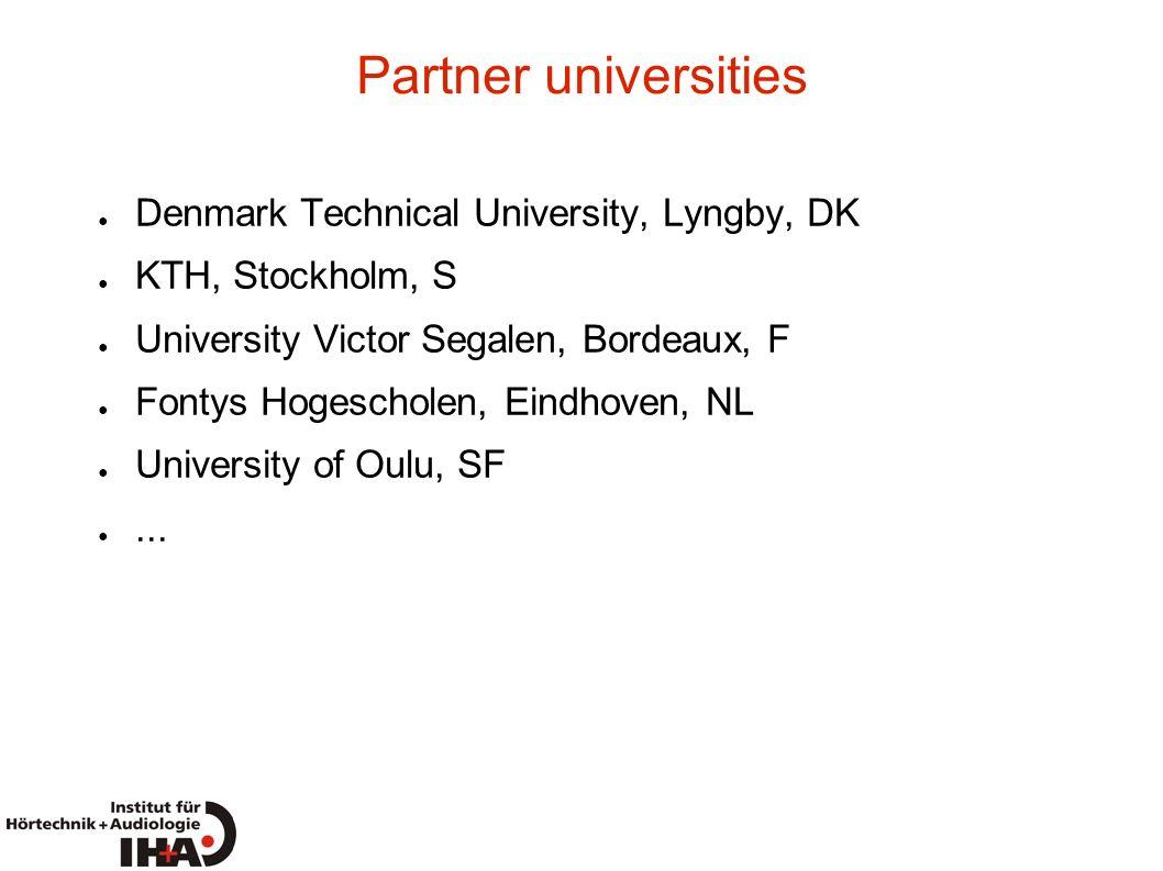 Partner universities Denmark Technical University, Lyngby, DK