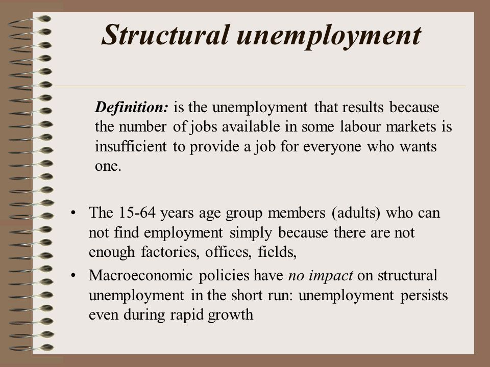 structural unemployment The increase in long-term unemployment has raised the specter of a permanent jump in the unemployment rate, one linked to a surge in structural unemployment gary burtless explains what a .