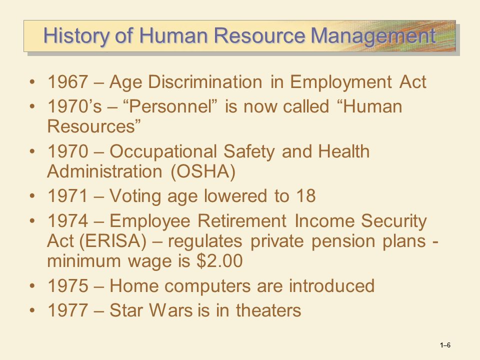 brief history of human resource management We also offer some of the best teaching in human resource management (hrm)   honours students often say that this is the most satisfying part of their history.