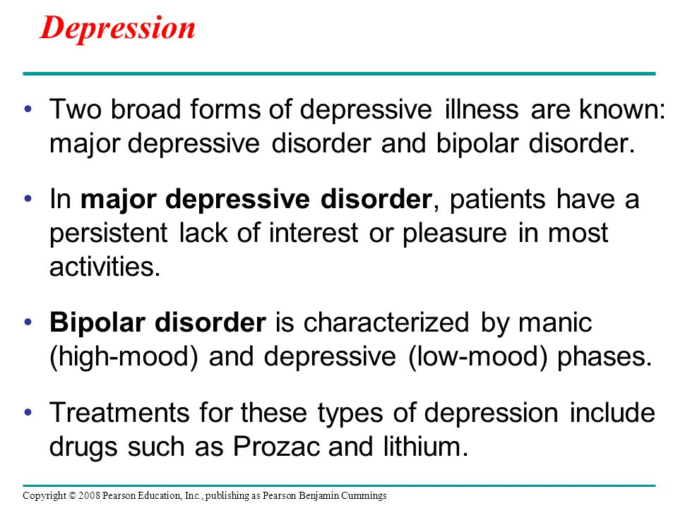 the two main types of depressive disorders Depression (major depressive disorder or examples of other types of depressive disorders newly added to the diagnostic for at least two.